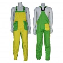Tuinbroek polyester-katoen geel-groen